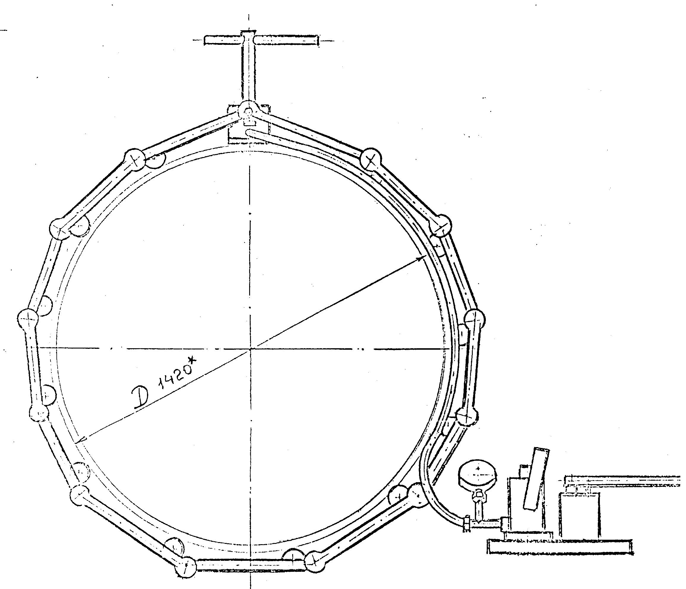 Центраторы гидромеханические для сварки труб DN 1020-1420 схема